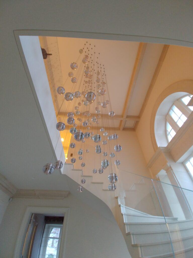 Balustrada szklana, szkło bezpieczne laminowane, szkło gięte na łuku (001)