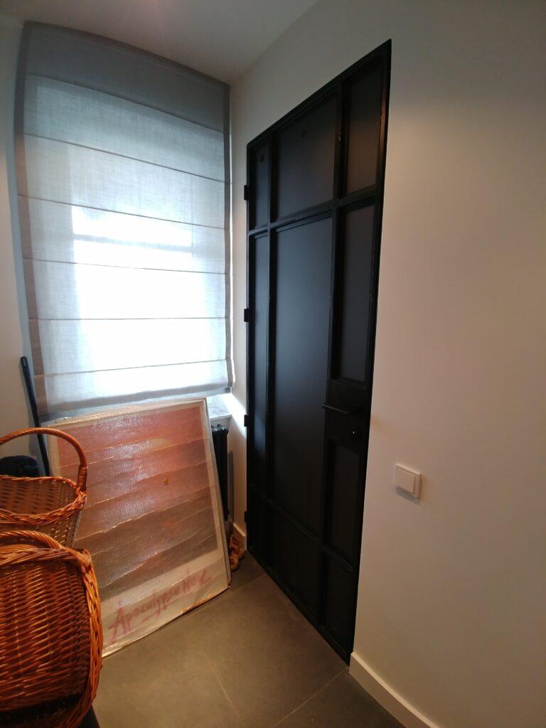 drzwi loft ze szkłem matowym grafitowym